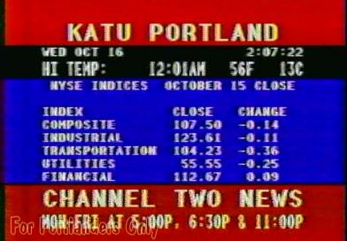 KATU Newswire Screen — October 16, 1985